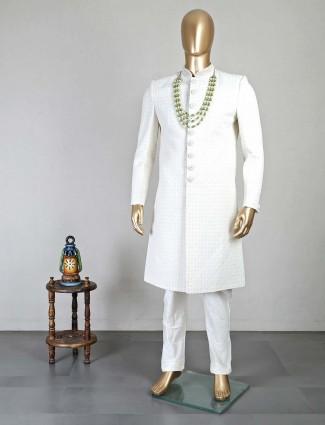 White silk wedding wear men sherwani