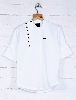 White solid cotton fabric boys kurta