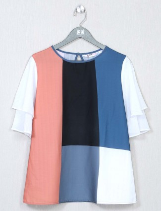 White striped crepe top for women