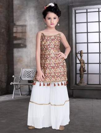 White wedding wear sharara suit with aabla details