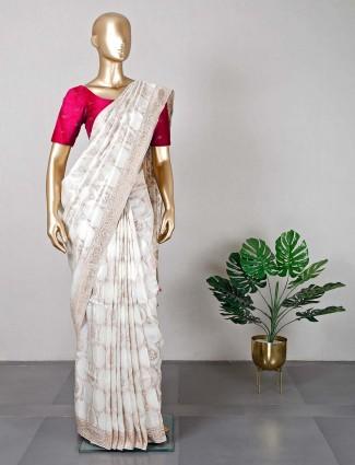 White wedding wear silk saree for women