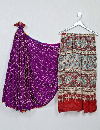 Wine and red bandhej saree for festives