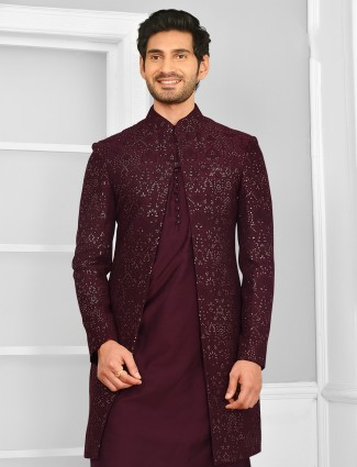 Wine colour wedding wear indo-western for mens