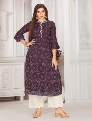 Wine festive wear cotton salwar suit