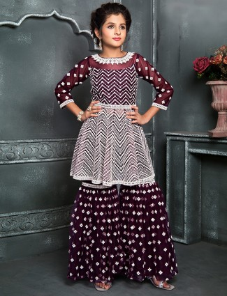 Wine georgette sharara suit for girls
