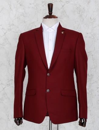 Wine maroon color solid wedding wear blazer