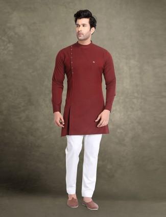 Wine maroon cotton party kurta suit