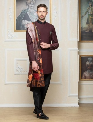 Wine maroon solid terry rayon indo western