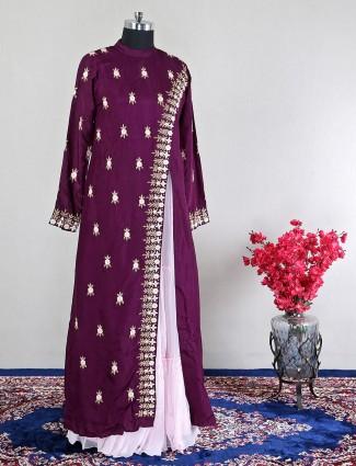 Wine silk indowestern suit for wedding