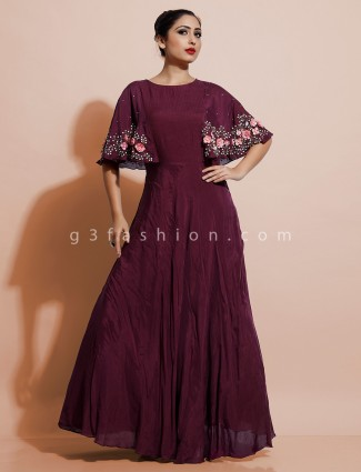 Wine stylish indo western dress for party in cotton