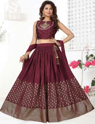 Wine wedding events lehenga choli in cotton silk