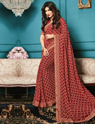 Wonderful maroon printed georgette saree for festive