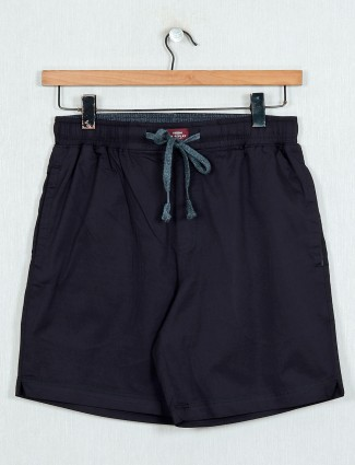XN Replay solid black casual shorts