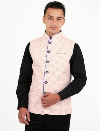Xposed printed pink men linen waistcoat