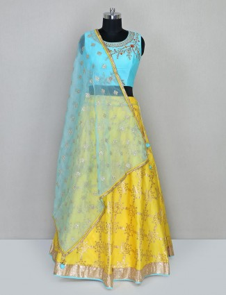 Yellow and aqua wedding wear lehenga choli