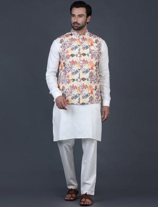 Yellow and beige cotton silk mens waistcoat set