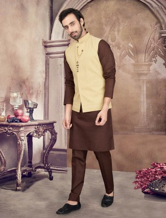 Yellow and brown cotton mens waistcoat set