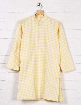 Yellow and white checks cotton kurta suit