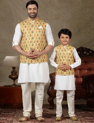 Yellow and white cotton waistcoat set for father and son