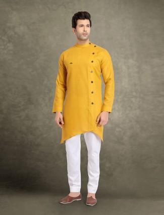 Yellow bandhgala collar solid kurta suit