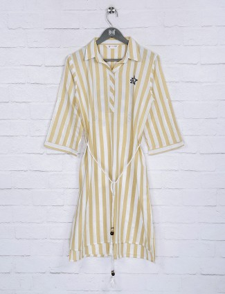 Yellow casual function cotton stripe top