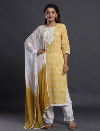 Yellow causal printed cotton palazzo suit