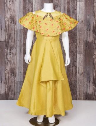 Yellow color silk fabric designer gown