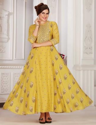 Yellow colour festive wear cotton kurti