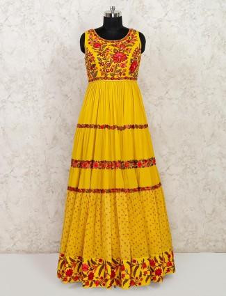 Yellow cotton anarkali suit for wedding