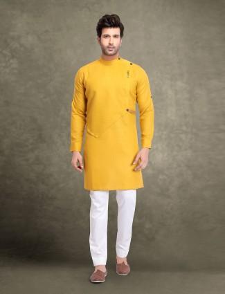 Yellow cotton classic kurta suit