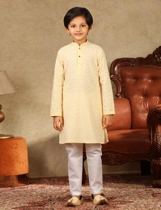Yellow cotton festive boys kurta suit