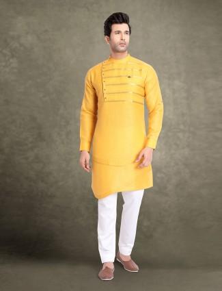 Yellow cotton festive wear classic kurta suit
