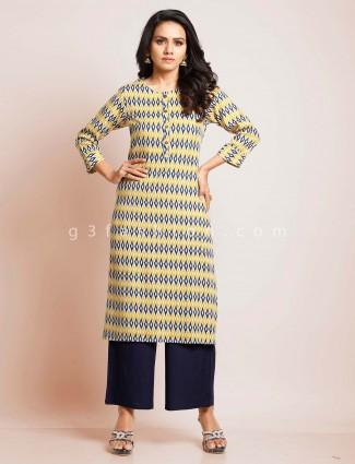 Yellow cotton festive wear suit for women