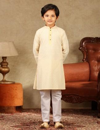 Yellow cotton kurta suit with churidar