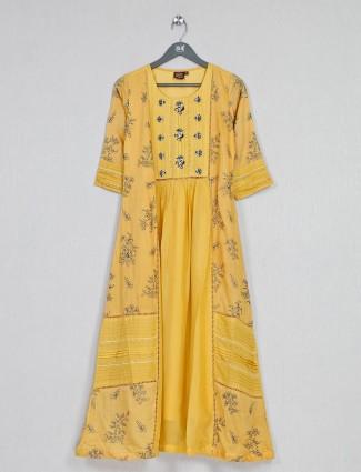 Yellow cotton kurti for casual wear