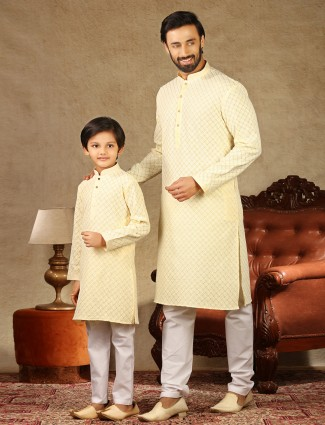 Yellow cotton matching kurta suit for father and son