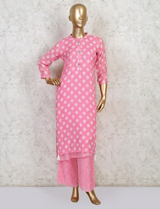 Yellow cotton palazzo suit for festive wear