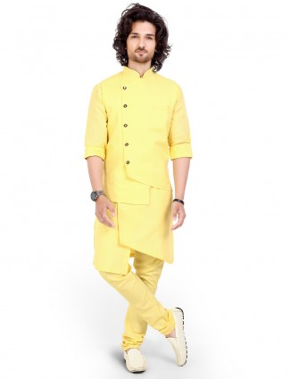yellow cotton party function mens waistcoat set