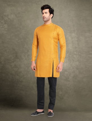 Yellow cotton printed festive wear kurta suit