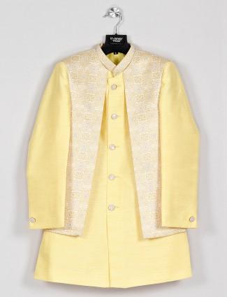 Yellow cotton silk boys indo western