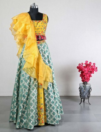 Yellow cotton silk wedding lehenga choli for women