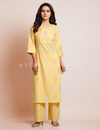 Yellow cotton suit for festive function