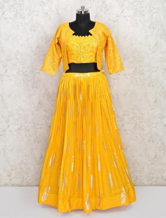 Yellow cotton wedding wear lehenga choli