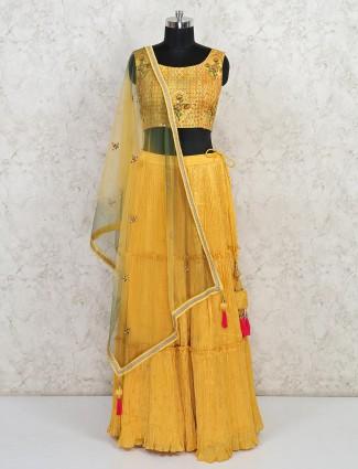 Yellow designer wedding wear georgette lehenga choli
