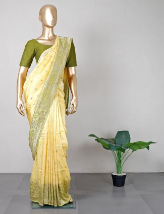 Yellow festive wear silk saree for women