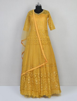 Yellow floor length gown for wedding session