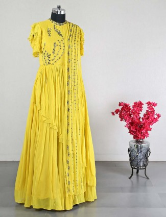 Yellow georgette anarkali suit for wedding days