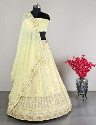 Yellow georgette ideal for wedding lehenga choli