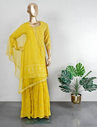 Yellow georgette wedding wear sharara suit