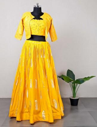 Yellow jacket style lehenga choli for wedding